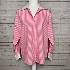 Talbots Pink Striped Button-Up